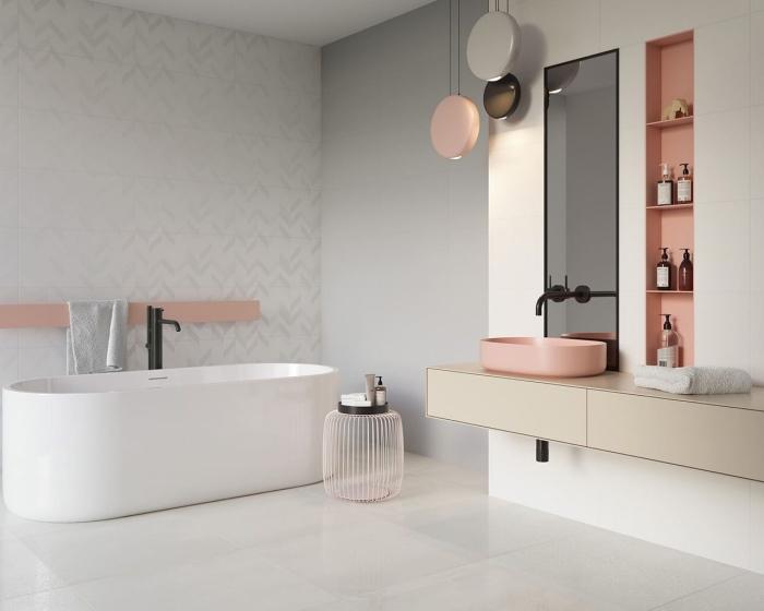 pinterest salle de bain, aménagement salle de bain avec rangement vertical ouvert de couleur rose pastel, modèle miroir rectangulaire à cadre noir