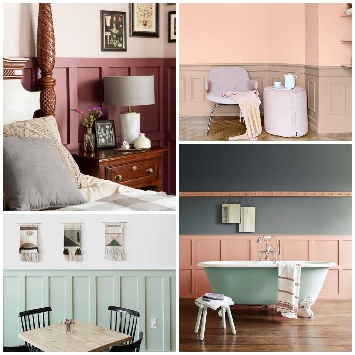 idées de peinture pour soubassement bois, couleurs pastel et tons terre pour un soubassement en boiserie contrastée et élégante