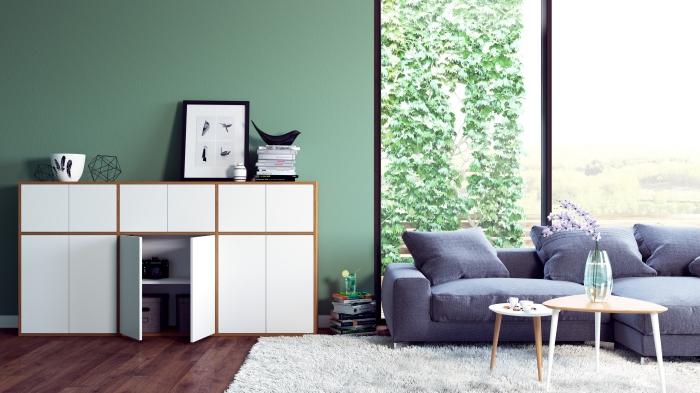 modèle de rangement personnalisable pour salon, meuble rangement avec étagères et portes à fermeture automatique