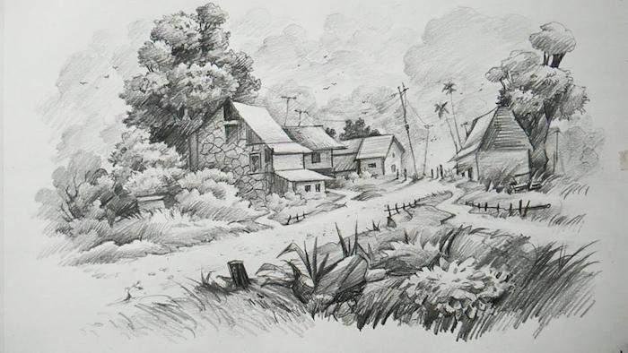 Comment dessiner un paysage dessin joli, le choix de dessin facile a faire et beau