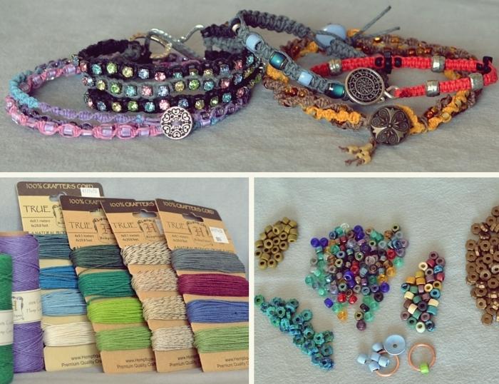 comment confectionner un bracelet en macramé, quels types de fils ou cordes pour bijoux fait main, modèle bijoux ethniques diy
