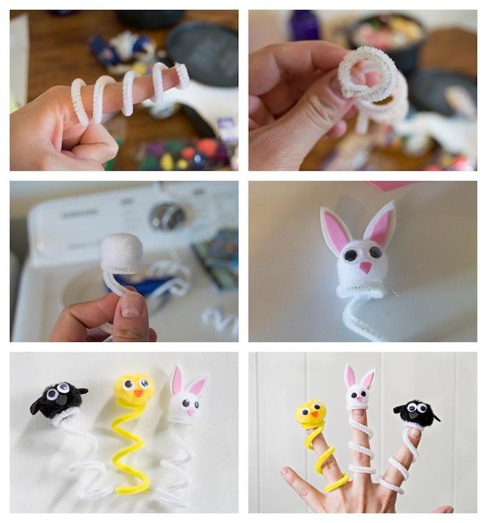 pantin, doudou enfant a faire soi meme en cure pipe avec tête de lapin, poussin en pompon coloré et des yeux mobiles