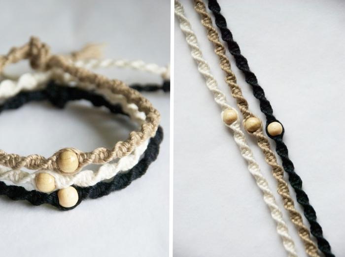 bracelet en fil macramé fait avec la technique noeud plat torsadé, modèle de bracelet diy en corde, art macramé facile pour faire des bijoux,