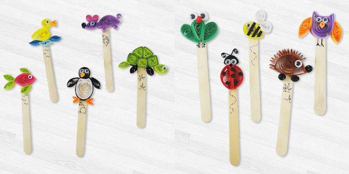 quillig pour enfant, batonnets de glace et top animal en papier quilling, activité manuelle printemps
