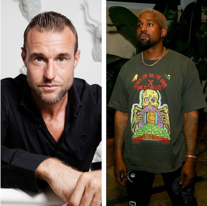 collage de Philipp Plein et Kanye West pour article sur l'arnaque à 900 000$ pour un faux concert du rappeur à la fashion week de new york
