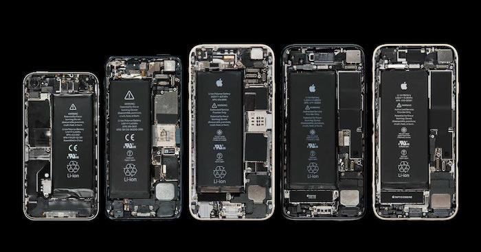 photo intérieur d'iphone pour illustrer article sur le changement de puces Intel par Qualcomm sur les anciens Iphone et remise en vente en allemange