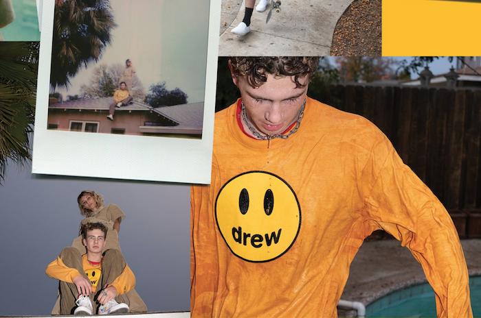 photo promo de la collection en velours marron de la marque Drew de Justin Bieber et son style rétro