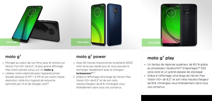 illustration de la nouvelle gamme de smartphones Motorola Moto G7 Play Power dans nouveautés mobiles actu technews