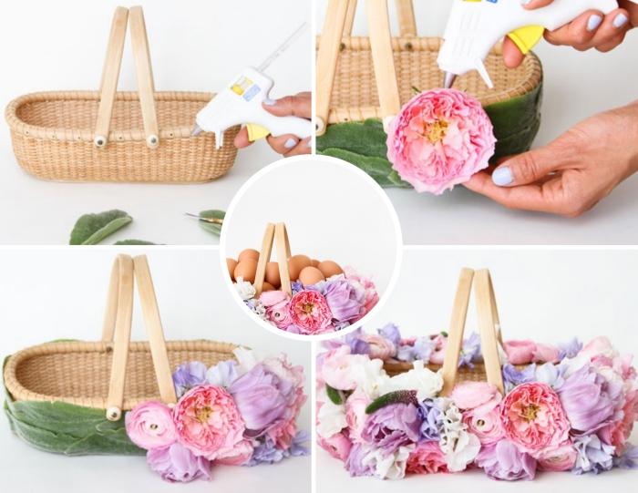 tutoriel facile pour décorer un panier en fibre naturel avec fleurs artificielles, exemple panier personnalisé pour le jour de Pâques