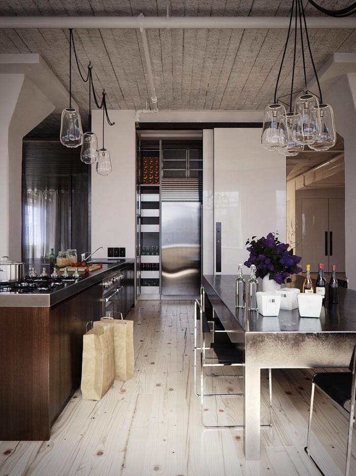 déco d'esprit industriel avec tuyaux apparents et matériaux bruts, relooking meuble avec peinture à texture inox