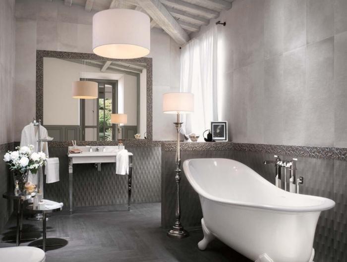 design intérieur rétro chic avec accents modernes, idée déco salle de bain aux murs gris clair avec meubles blancs