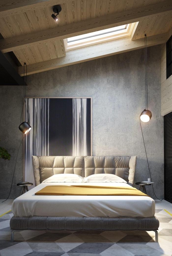 exemple peinture effet beton dans une chambre à coucher masculine, déco chambre grise et bois avec accessoires industriel