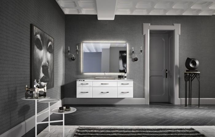 intérieur moderne en gris anthracite, modèle de salle de bain grise foncée avec meubles blancs, idée art mural avec peinture blanc et noir