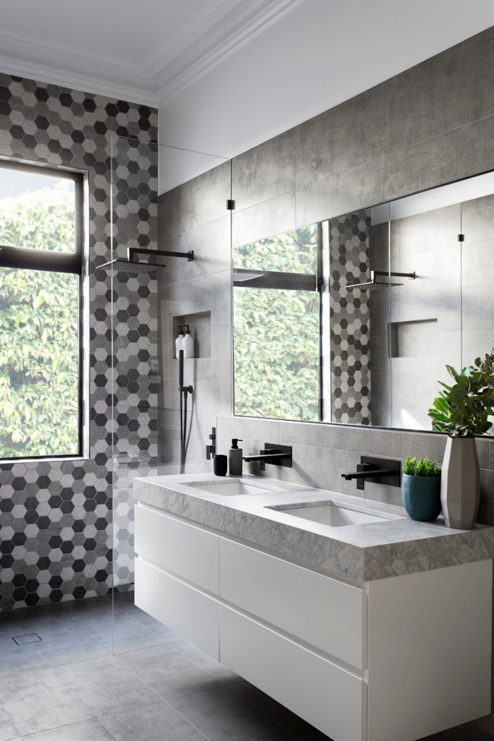 quelle couleur salle de bain moderne, modèle meuble bas salle de bain en blanc avec double vasque et comptoir marbre