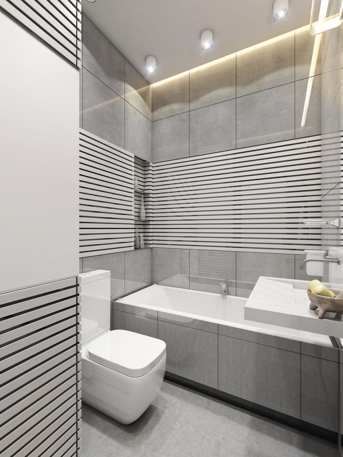 idée revêtement mural tendance salle de bain moderne, comment décorer une petite salle de bain avec carreaux gris