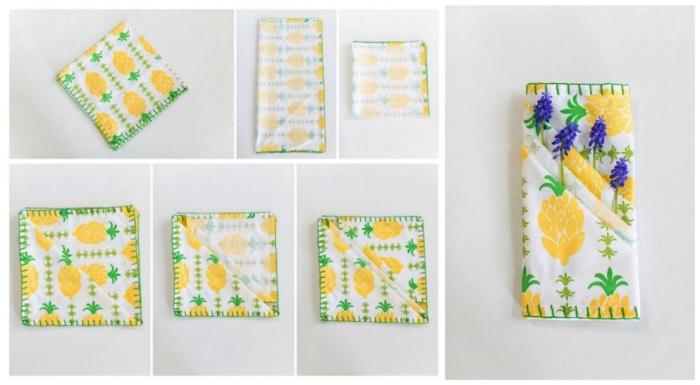 modèle de pliage serviette rapide, serviette à motifs fleurs pliée en pochette à couverts