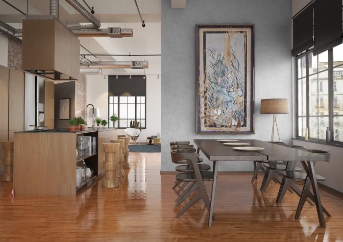 comment aménager une cuisine ouverte avec îlot central en blanc et gris, design salle à manger avec mur à texture béton