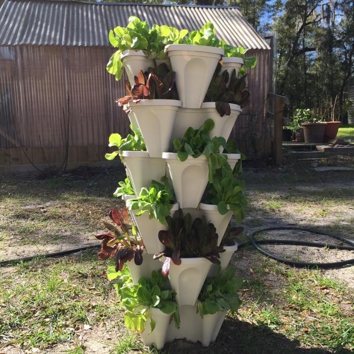 comment planter des salades hors sol, potager vertical avec salades vertes dans des pots empilables