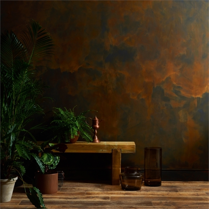 idée peinture effet metal, atmosphère exotique dans une pièce aux murs métallisés, quelles plantes pour intérieur