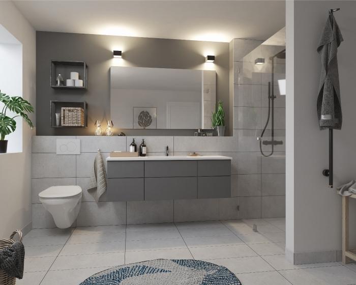 modèle de salle de bain tendance avec peinture murale gris clair, exemple équipement salle de bain en gris mate