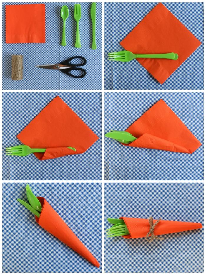 idée de pliage serviette rapide en forme de carotte noué avec une ficelle de chanvre, pochette à couverts façon carotte de pâques