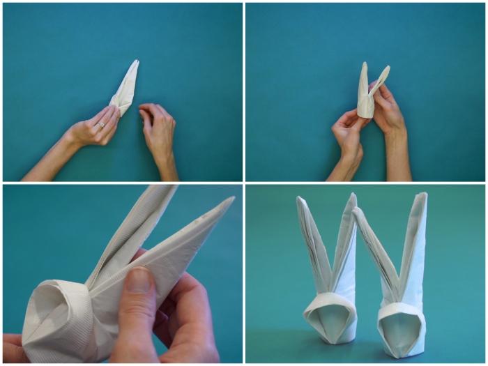 bricolage facile pour réaliser une belle déco de pâques, comment plier des serviettes en papier en forme de petits lapins de pâques