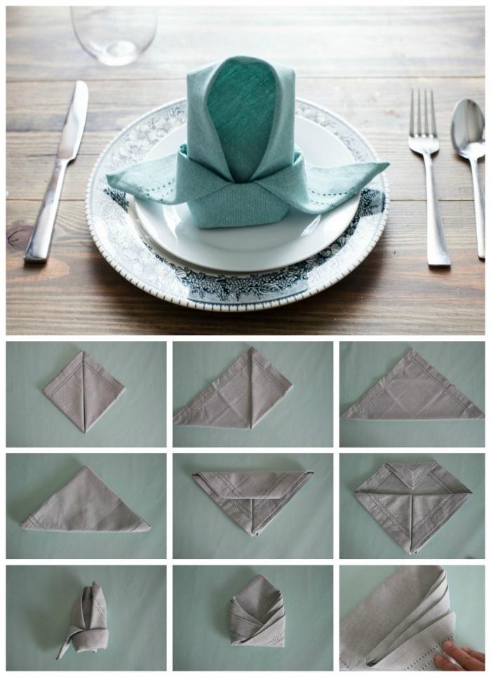 pliage serviette simple et classique pour décorer une table de pâques dans un style naturel