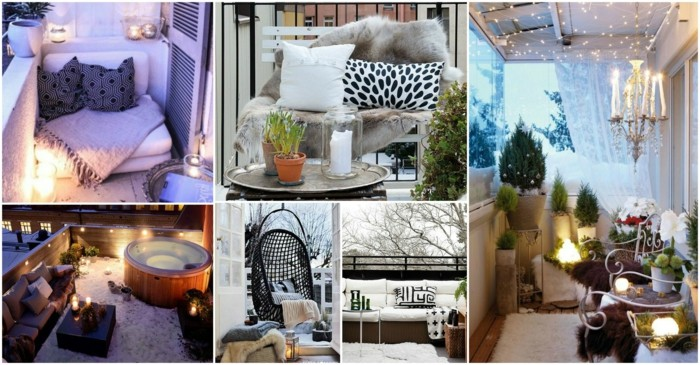 aménager son balcon romantique étroit avec fauteuil suspendu, plantes vertes, jacuzzi, lumières, plantes vertes