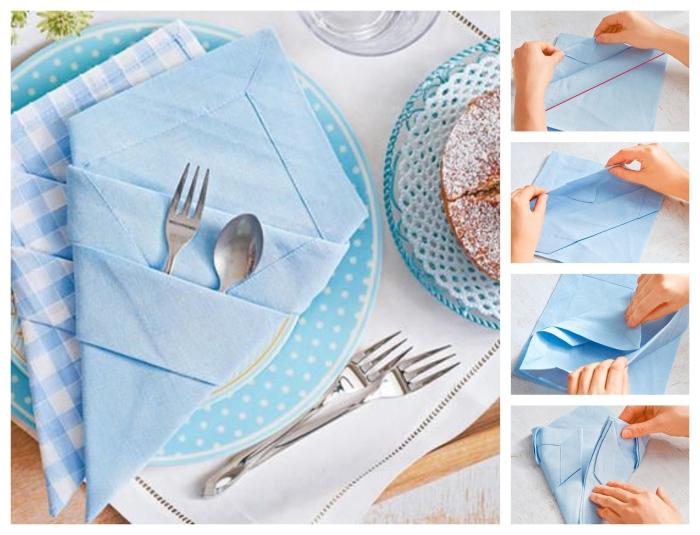 technique de pliage origami d'une belle poche à couverts bleu ciel pour décorer une table de pâques stylée et élégante