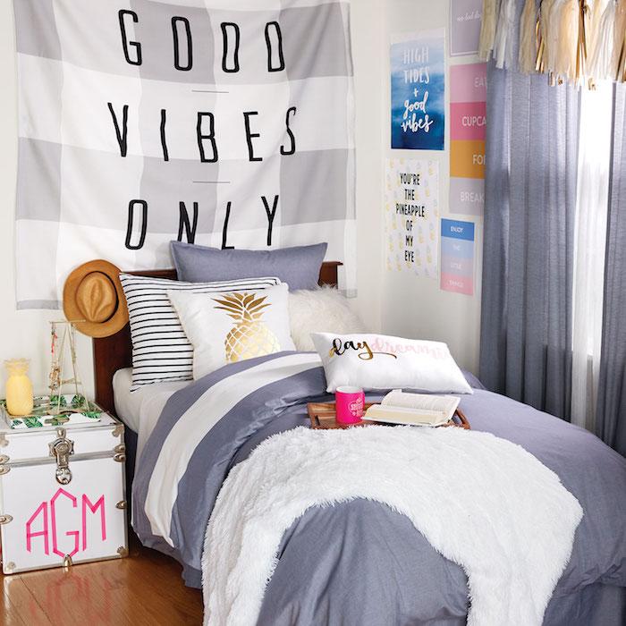 Chambre tumblr ado, déco chambre gris et rose ado fille, décoration petit chambre etudiant enfant