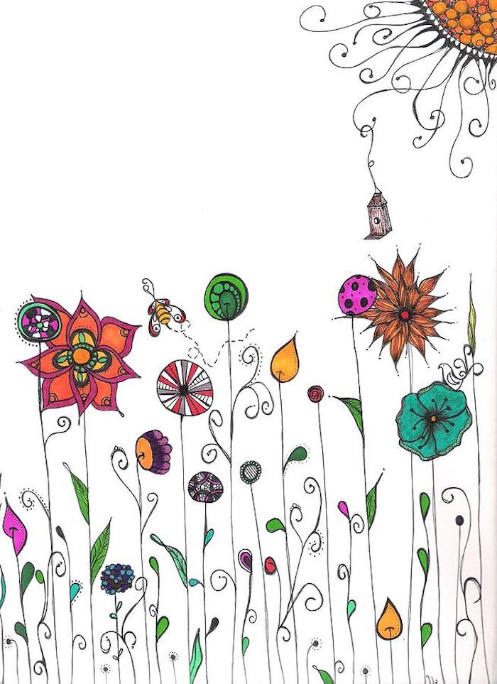 Fleurs de printemps imaginés, inspiration dessin facile et beau, dessiner un paysage