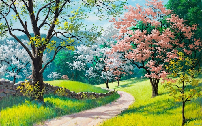 Paysage printanier dessin idée simple et très jolie, dessiner un paysage coloré avec arbres fleuries
