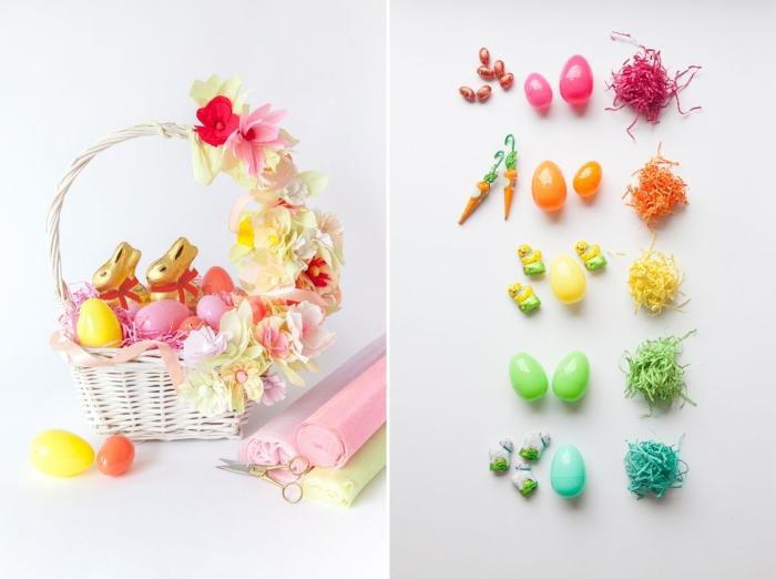 idée comment décorer tressé avec fleurs artificielles, modèle de panier rempli de lapins en chocolat et oeufs plastiques