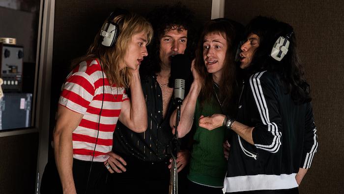 Photo du groupe Queen avec Rami Malek dans le fil Bohemian Rhapsody 5 nominations aux Oscars 201ç et live du groupe Queen + Adam Lambert