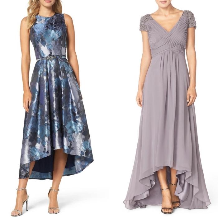 les tendances dans la mode de soirée en 2019, robe de soirée longue derrière, courte devant idéale pour les femmes avec de longues jambes