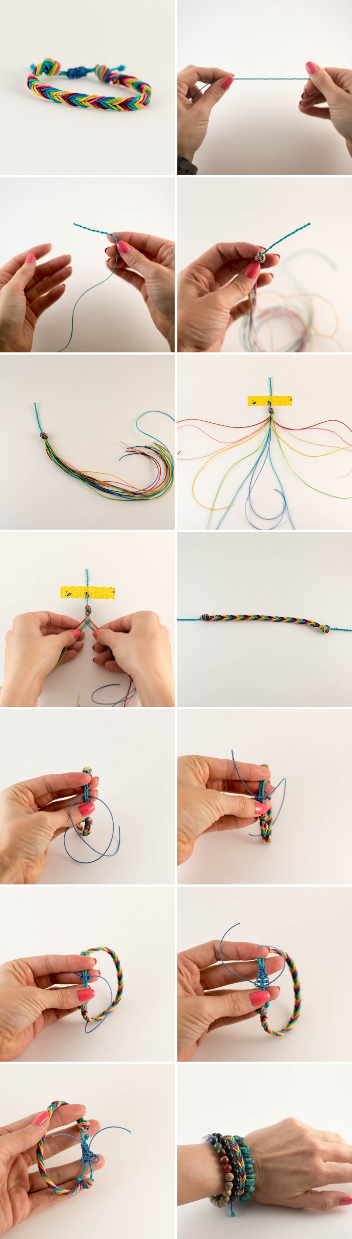 pas à pas fabrication bracelet multicolore en noeuds, diy bracelet tressé en fil scoubidou, modèle bijou fait main facile