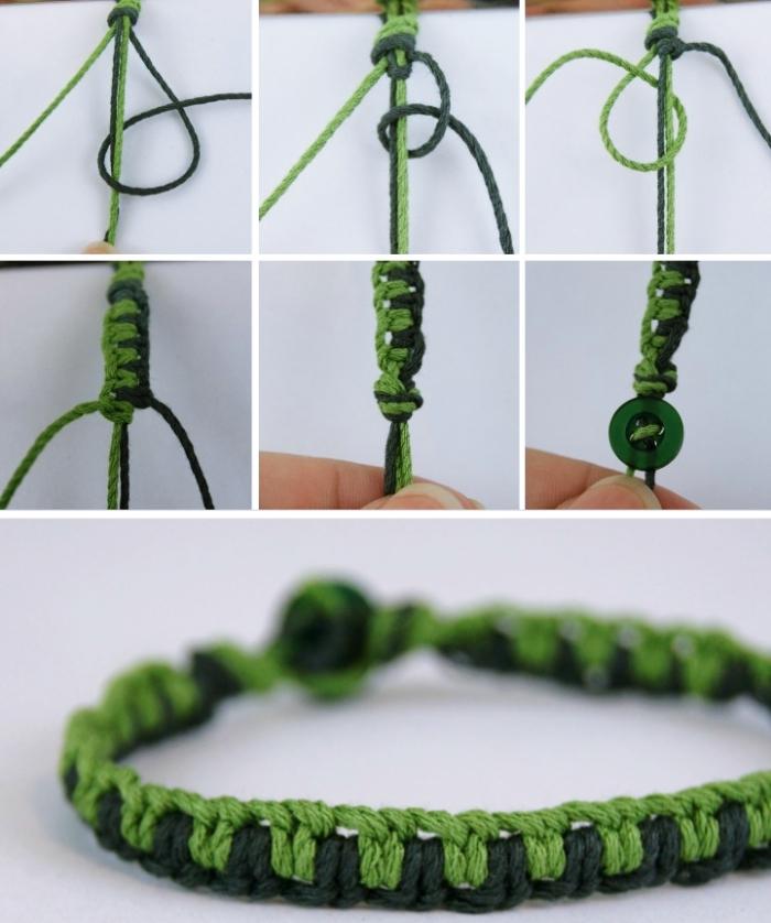 tuto macramé facile, modèle de bracelet en deux cordes de nuances vertes, technique de noeud macramé pour faire un bijou