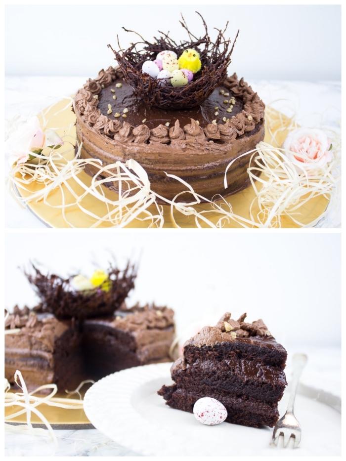 recette vegan de gateau nid de paques au chocolat, décoré d'un nid en céréales et de petits oeufs en chocolat