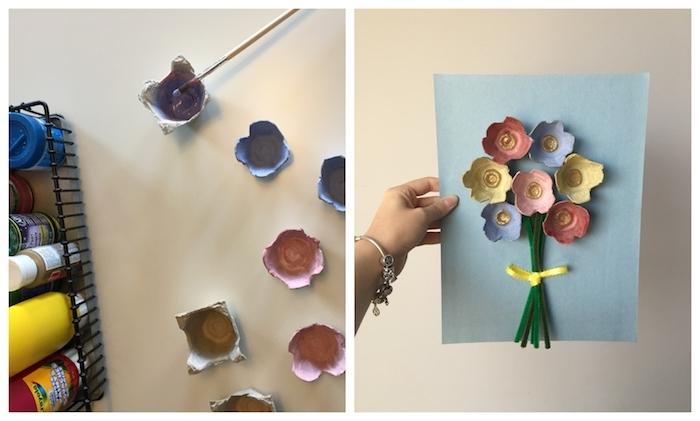 recyclage boite carton d oeuf coloré à tiges en cure-pipe avec deco de ruban jaune sur papier bleu, activités manuelles maternelle