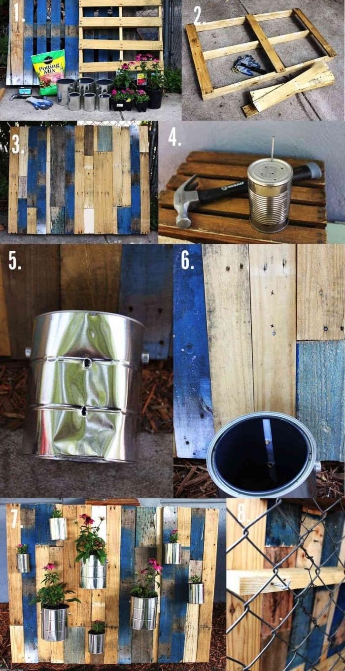 tuto pas à pas pour fabriquer une jardinière en palette recyclée avec des boîtes peintures fixées dessus