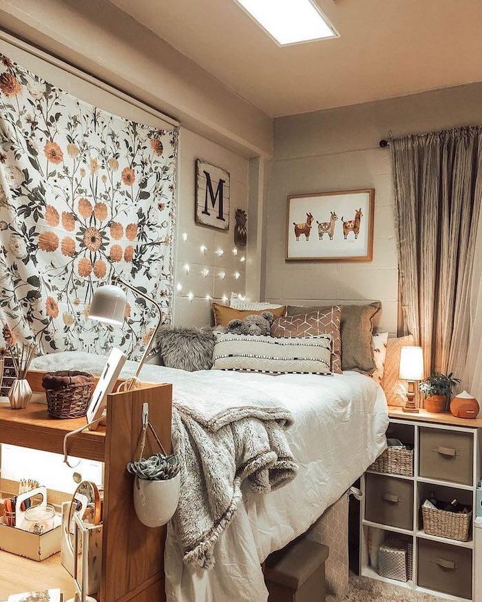 Taupe chambre a coucher bien décoré, deco chambre ado style Tumblr, inspiration déco chambre ado fille