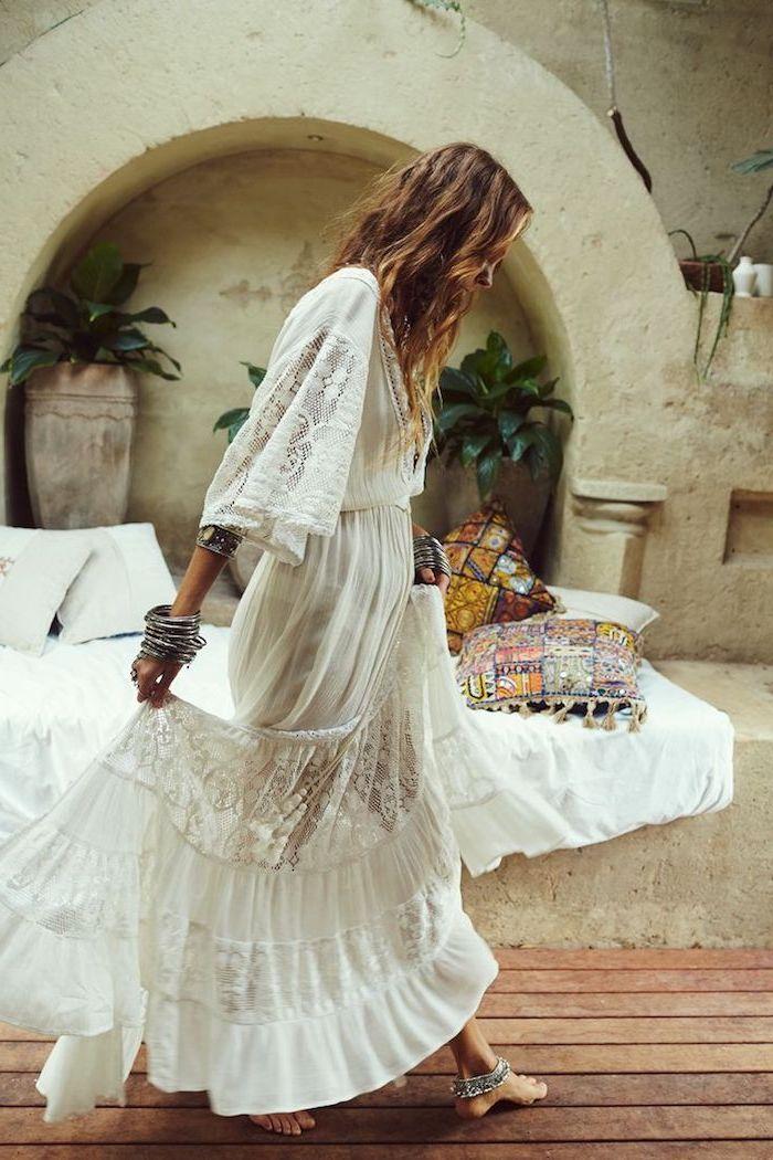 Longue robe bohème avec manches longues, comment s habiller pour un mariage champetre, robe longue été, robe hippie chic