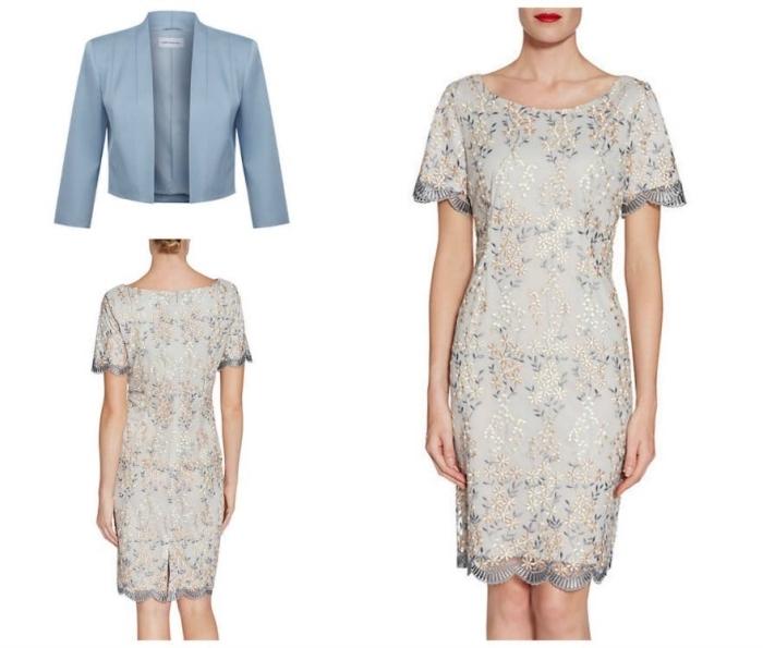 tenue habillée pour mariage, une robe courte à coupe droite avec des broderies floraux et manches courtes assortie avec une veste courte bleu gris