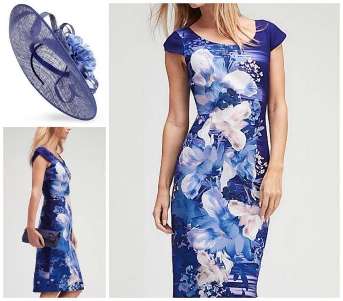 une robe bleu roi moulante aux imprimés floraux et son chapeau de cérémonie assorti, robe champetre pour cérémonie de mariage