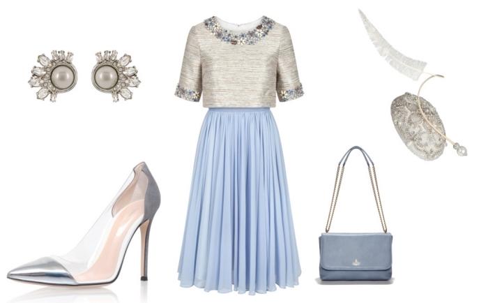robe de cocktail bi-matière en bleu et gris au haut orné de petites fleurs, une robe temoin de mariage pour femme de 50 ans