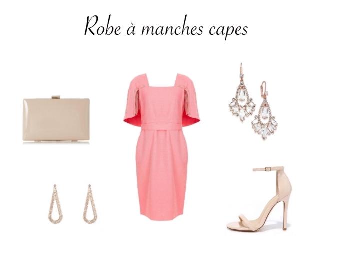 robe de soirée courte d'une belle couleur corail avec manches capes et des accessoires élégants pour l'assortir