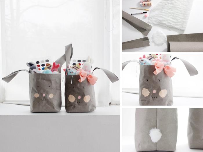 comment faire un sac cabas facile, diy panier sac en papier pour Pâques, dessiner un visage de lapin sur sac en papier