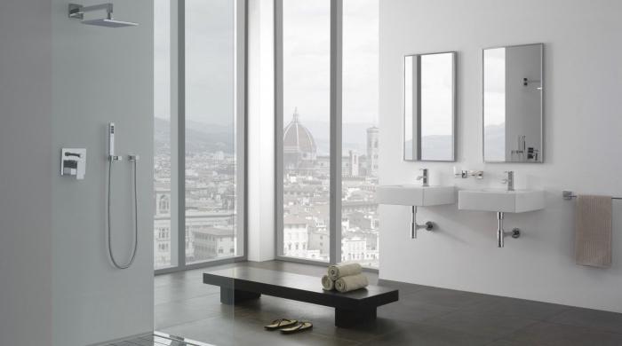 quelle couleur salle de bain moderne, agencement salle de bain avec cabine de douche et double vasque au plancher carreaux gris foncé
