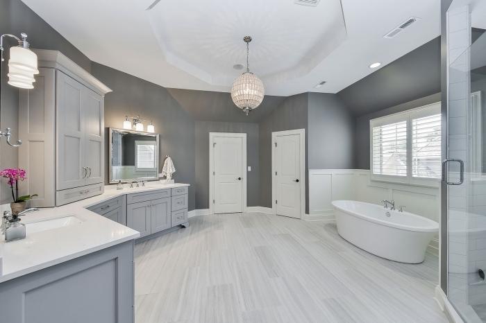 style traditionnel dans une salle de bain gris et blanc avec meubles bois peint en gris clair, idée baignoire autoportante
