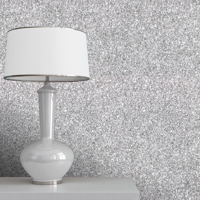 décoration de salon féminin aux murs gris à effet glitter, idée peinture tendance moderne à design pailleté gris